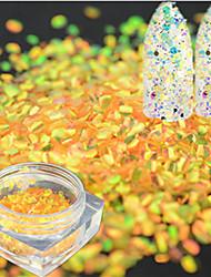 1bottle mode brillant orange couleur poisson échelle tranche art ongle brillance décoration laser ongle art sirène hexagone paillette