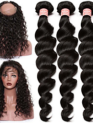 cheap -Brazilian Hair Loose Wave One Pack Solution Human Hair Weaves 8a Natural Black Human Hair Extensions