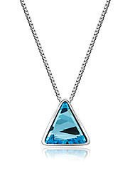 cheap -Women's Crystal Logo Pendant Necklace - Crystal Personalized, Unique Design, Dangling Style Light Blue Necklace For Party, Special Occasion, Birthday