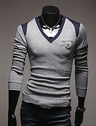 cheap -Men's Casual/Daily Regular Pullover,Print V Neck Long Sleeves Nylon Spring Medium Micro-elastic
