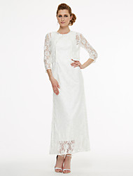 cheap -A-Line Jewel Neck Tea Length Lace Mother of the Bride Dress with Lace Pleats by LAN TING BRIDE®