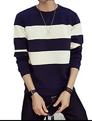 abordables -Pull à capuche & Sweatshirt Pour des hommes Couleur Pleine Décontracté / Sport Coton Manches longues Noir / Bleu / Blanc