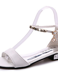 cheap -Women's Shoes PU Summer Comfort Sandals Walking Shoes Flat Heel Open Toe Buckle for Casual White Black