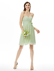 cheap -Sheath / Column Strapless / Sweetheart Neckline Knee Length Chiffon Bridesmaid Dress with Criss Cross / Ruched / Flower by LAN TING BRIDE®