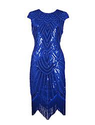 Danse latine Robes Femme Spectacle Paillété Strass 1 Pièce Sans manche Taille moyenne Robe