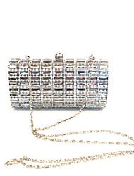 economico -Donna Sacchetti PU (Poliuretano) Metallo Pochette Crystal / Rhinestone per Matrimonio Serata/evento Formale Per tutte le stagioni Nero
