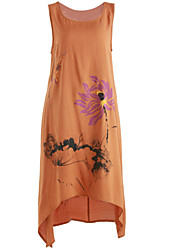 cheap -Women's Daily Casual A Line Dress,Print Round Neck Midi Sleeveless Linen Spring Summer Mid Rise Inelastic Medium