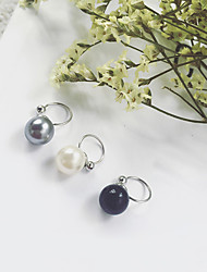 Women's Clip Earrings Imitation Pearl Fashion Euramerican Imitation Pearl Gray Pearl Black Pearl Alloy Round Jewelry For Daily