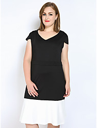 cheap -Really Love Women's Party Daily Plus Size Vintage Cute Sexy A Line Shift Sheath Dress,Color Block Patchwork V Neck Midi Short Sleeves Polyester