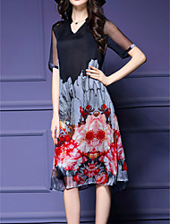 cheap -Women's Vintage Print Plus Size / Loose Dress,V Neck Knee-length Silk / Polyester