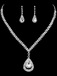 cheap -Women's Drop Earrings Choker Necklace Bridal Jewelry Sets AAA Cubic Zirconia Rhinestone Cubic Zirconia Silver Drop Classic Elegant