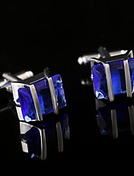 cheap -Fashion French Shirt Blue Crystal Cufflinks Mens Jewelry Unique Wedding Groom Men Gifts Semi Precious Stone French Cuffs Buttons