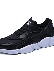 cheap -Men's Shoes Tulle Spring Fall Comfort Sneakers Walking Shoes Split Joint Lace-up for Athletic Casual Outdoor White Black Red