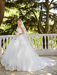 cheap -Ball Gown Strapless Cathedral Train Tulle Wedding Dress with Lace Ruffle by TYSY