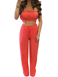 Women's Casual/Daily Sexy Summer Tank Top Pant Suits,Solid Strapless Sleeveless Cotton Inelastic