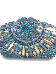 Women Bags All Seasons PU Metal Clutch Crystal/ Rhinestone for Wedding Event/Party Formal Office & Career Blue Gold Black Silver