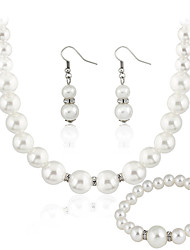 cheap -Jewelry Set Basic Imitation Pearl Alloy Round 1 Necklace 1 Pair of Earrings Earrings For Wedding Party Special Occasion Casual 1 Set