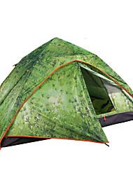baratos -3 pessoa Tenda Dupla Camada Barraca de acampamento Ao ar livre Barracas de Acampar Leves Prova-de-Água / Á Prova-de-Chuva / Á Prova de