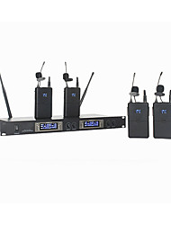 cheap -4 Channel LED Professional Wireless Lavalier Microphone System Collar clip set Microfone