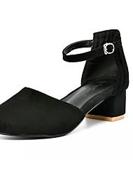 preiswerte -Damen Schuhe Kunststoff Kunstleder PU Sommer Herbst Komfort Neuheit High Heels Walking Blockabsatz Runde Zehe Schnalle Für Normal Party &
