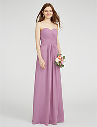 cheap -Sheath / Column Strapless Floor Length Chiffon Bridesmaid Dress with Criss Cross by LAN TING BRIDE®