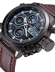 cheap -ASJ Men's Digital Watch Japanese Calendar / date / day / Chronograph / Water Resistant / Water Proof Leather Band Luxury Brown / Remote Control / RC / Luminous / LCD / Dual Time Zones / Stopwatch