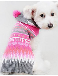 Dog Sweater Dog Clothes Casual/Daily Fashion Geometic Fuchsia Costume For Pets