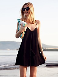 Women's Beach Sexy Little Black Dress,Solid V Neck Above Knee Sleeveless Cotton Spring Summer Low Rise Micro-elastic Thin