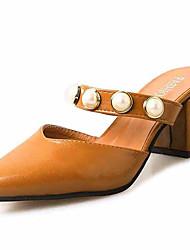 cheap -Women's Slippers & Flip-Flops Sandals Comfort PU Summer Casual Walking Comfort Beading Chunky Heel Black Beige Yellow 3in-3 3/4in