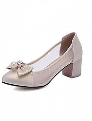 Women's Heels Leatherette PU Summer Fall Walking Bowknot Chunky Heel Gold White Blue Blushing Pink 1in-1 3/4in