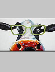 Hand-Painted Modern Abstract Wear Glasses Of Cattle Animal Oil Paintings On Canvas Wall Art Picture For Home Decoration Ready To Hang