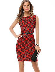 Women's Party Office/Career Daily Going out Sexy Simple A Line Bodycon DressLattice Round Neck Above Knee Sleeveless Polyester Spring Belt Included