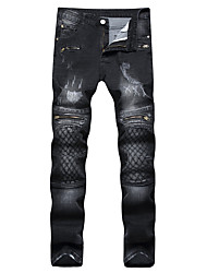 cheap -Men's Punk & Gothic Plus Size Slim Straight Jeans Pants - Lines / Waves Grid/Plaid Patterns Embroidered, Check Pattern