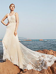 A-Line Straps Sweep / Brush Train Lace Wedding Dress with Beading Draped by LAN TING BRIDE®