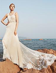 Linea-A Strascico a terra Di pizzo Vestito da sposa con Perline A pieghe di LAN TING BRIDE®