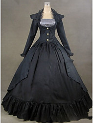 cheap -Victorian Rococo Costume Women's Party Costume Masquerade Black Vintage Cosplay Other Satin Long Sleeves Cap Floor Length