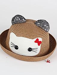 Kids' Sun Hat  Cute Cartoon Cat Glitter Ears Roll Up Brim Straw Hat