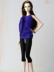 cheap -Outfits Top For Barbie Doll Top Pants 147 Girl's Doll Toy