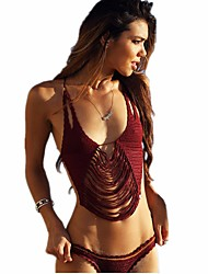 Women's Stripe Halter Bikini Swimwear,Rabbit Fur Red