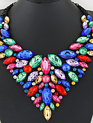 cheap -Women's Gemstone Bib Statement Necklace / Bib necklace - Crystal Statement, Luxury, European Shiny Red, Green, Blue Necklace Jewelry For Party, Anniversary, Birthday