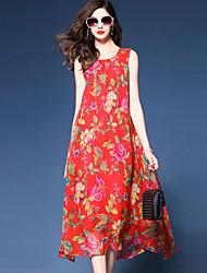 abordables -Mujer Tallas Grandes Sofisticado Boho Corte Ancho Gasa Corte Swing Vestido - Elegante Gasa Estampado, Floral Midi