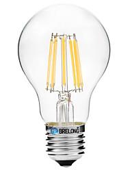 baratos -BRELONG® 1pç 8W 600lm E27 Lâmpadas de Filamento de LED A60(A19) 8 Contas LED COB Branco Quente Branco 200-240V