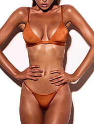 Women's Solid Solid Plunging Neckline Halter Bikini Swimwear Orange Blushing Pink