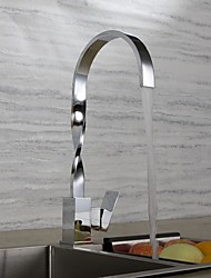 Contemporary Art Deco/Retro Modern Standard Spout Tall/­High Arc Deck Mounted Waterfall Widespread Thermostatic Ceramic Valve Chrome ,