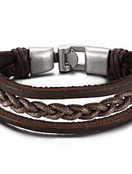cheap -Men's Leather Leather Bracelet - Friendship Initial Jewelry Movie Jewelry Hip-Hop Fashion Rock Round Circle Brown Bracelet For Christmas