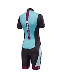 cheap -Women's Short Sleeve Triathlon Tri Suit Bike Anatomic Design, Breathable, Reflective Strips, Sweat-wicking Polyester, Spandex, Coolmax® Dots / High Elasticity / Lycra / SBS Zipper