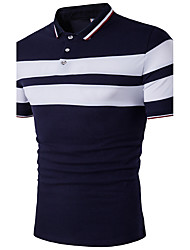 cheap -Men's Active Plus Size Cotton Slim Polo - Striped Black & White Shirt Collar / Short Sleeve