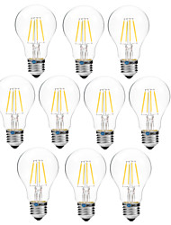 abordables -BRELONG® 10pcs 4W 300 lm E27 Ampoules à Filament LED A60(A19) 4 diodes électroluminescentes COB Intensité Réglable Blanc Chaud Blanc AC