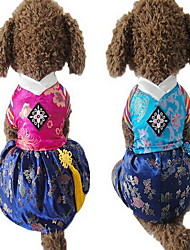 cheap -Dog Jumpsuit Dress Dog Clothes Cute Wedding Embroidered Fuchsia Blue Costume For Pets