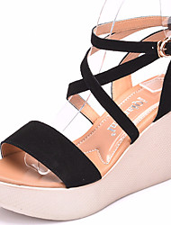 abordables -Mujer Zapatos Semicuero Verano Confort Sandalias Tacón Cuña Punta abierta para Casual Negro Café Rojo